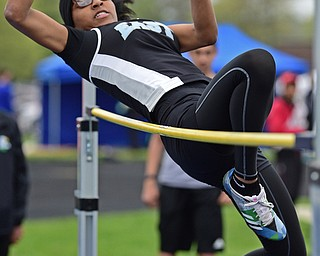 POLAND, OHIO - APRIL 29, 2017: Youngstown East's Kiya Butler jumps in an attempt to clear the bar during the girl's high jump, Saturday morning during the Poland Invitational at Poland High School. DAVID DERMER | THE VINDICATOR