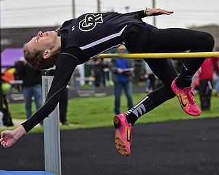 POLAND, OHIO - APRIL 29, 2017: Crestview's Kaitlyn Dewell jumps in an attempt to clear the bar during the girl's high jump, Saturday morning during the Poland Invitational at Poland High School. DAVID DERMER | THE VINDICATOR