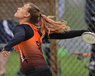 POLAND, OHIO - APRIL 29, 2017: Newton Falls Libby Barreca throws during the girls discus throw, Saturday morning during the Poland Invitational at Poland High School. DAVID DERMER | THE VINDICATOR
