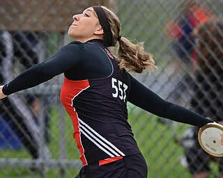 POLAND, OHIO - APRIL 29, 2017: Springfield's Sara Chaszeyka throws during the girls discus throw, Saturday morning during the Poland Invitational at Poland High School. DAVID DERMER | THE VINDICATOR