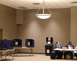 Low turnout at St. Christine Parish Center as(from left) Jeanne Robinson, Keyonna Jennings and Joe Alessi wait for 7:30 p.m., Tuesday, May 2, 2017 in Youngstown. ..(Nikos Frazier | The Vindicator)..