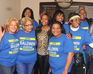 William D. Lewis the vindicator  Carla Baldwin , center , celebrates  with supporters during election night party.