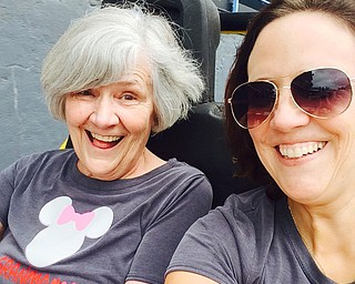 Joan Charlesworth of Zionsville, Ind., shares an exhilirating ride with her mother, Susan Charlesworth of Brownsburg, Ind.