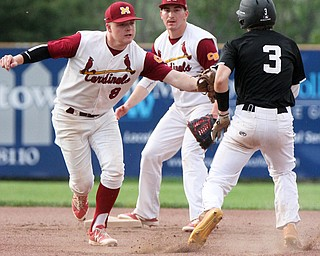 William D. Lewis The Vindicator Mooney's Bryce Richey(8) tags Crestview's Tyler Fitzsimmons(3)  during a first inning double play during 5-17-17 game at Cene. Crestview won 10-3.