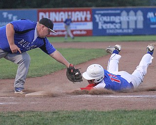 William D. Lewis The Vindicator Western Reserve'sMatt Burcaw(11) gets back to 1rst safe as JAX Miltons Zach Socha(55) tries to make the tag in 11 inning game with Jackson Milton at Cene 5-19-17.