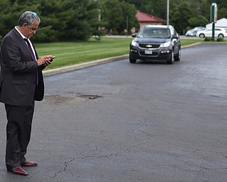 David Betras, Chairman of the Mahoning County Democratic Party, waits for Democratic National Committee (DNC) chairman Tom Perez to speak at Wedgewood Pizza, Friday, June 9, 2017 in Boardman. Perez visited Ohio two days after President Donald Trump spoke in Cincinnati, which Perez stopped in on Thursday...(Nikos Frazier | The Vindicator)