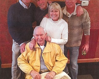 Doug Kasmer of Ocala, Florida, Dave Kasmer of Atlanta, seated father Robert E. Kasmer Sr. , 94, of Youngstown, Grethen VanCure of Independence and Robert E. Kasmer Jr. of Youngstown.