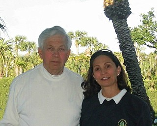 Raymond Jaminet and daughter Michelle Jaminet in Palm Beach, Florida, after a round of golf. Michelle, of course, let him win!