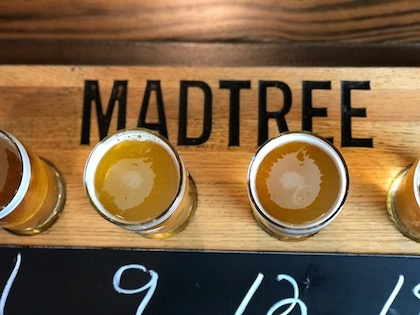 A flight of MadTree Brewing Co. beers.