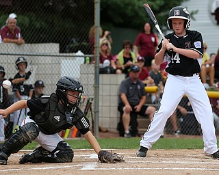 MICHAEL G TAYLOR | THE VINDICATOR-7-15-17  BASEBALL 8-10 yrs. Ohio D2 Championship- Boardman Spartans vs Canfield Cardinals at Field of Dreams in Boardman, OH. 1st, Canfield catcher #9 Dylan Mancini reaches for a wild pitch as Boardman's #44 Ryan Neifer watches