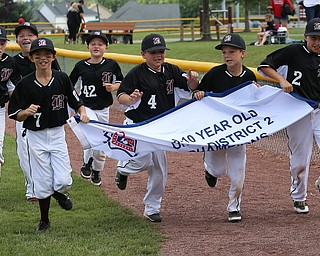 MICHAEL G TAYLOR | THE VINDICATOR-7-15-17  BASEBALL 8-10 yrs. Ohio D2 Championship- Boardman Spartans vs Canfield Cardinals at Field of Dreams in Boardman, OH.  Boardman celebrates their victory.