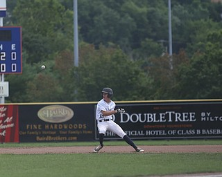 Baird Brothers right fielder Mitch Seymour (13) gets stuck in a game of pickle ball between Brooklyn Bonnie Paws pitcher Thomas Pallazoito (1) and Brooklyn Bonnie Paws short stop Antonio Pena (13) in the first inning as the Baird Brothers take on the Brooklyn Bonnie Paws in the 14u NABF World Series Championship, Sunday, July 16, 2017, at Cene Park in Struthers. Brooklyn won 2-0...(Nikos Frazier   The Vindicator)..