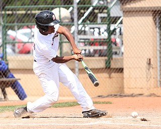Brooklyn Bonnie Paws right fielder Tony Holden (10) connects in the second inning as the Baird Brothers take on the Brooklyn Bonnie Paws in the 14u NABF World Series Championship, Sunday, July 16, 2017, at Cene Park in Struthers. Brooklyn won 2-0...(Nikos Frazier   The Vindicator)..