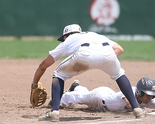 Brooklyn Bonnie Paws second baseman Samuel Urena (5) slides back into first as Baird Brothers first baseman Jake Gehring (9) waits for the ball in the fifth inning as the Baird Brothers take on the Brooklyn Bonnie Paws in the 14u NABF World Series Championship, Sunday, July 16, 2017, at Cene Park in Struthers. Brooklyn won 2-0...(Nikos Frazier   The Vindicator)..