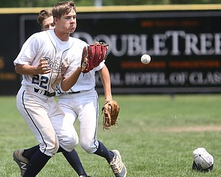 Baird Brothers pitcher Trey Pancake (22) misses the catch in the fifth inning as the Baird Brothers take on the Brooklyn Bonnie Paws in the 14u NABF World Series Championship, Sunday, July 16, 2017, at Cene Park in Struthers. Brooklyn won 2-0...(Nikos Frazier   The Vindicator)..