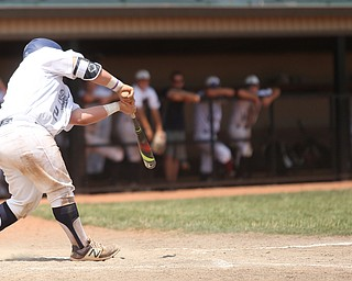 Baird Brothers catcher Connor Meyer (12) connects in the sixth inning as the Baird Brothers take on the Brooklyn Bonnie Paws in the 14u NABF World Series Championship, Sunday, July 16, 2017, at Cene Park in Struthers. Brooklyn won 2-0...(Nikos Frazier   The Vindicator)..