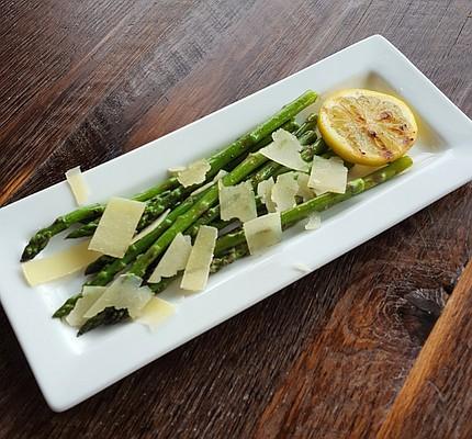 GRILLED ASPARAGUS  with olive oil, lemon, shaved Parmesan