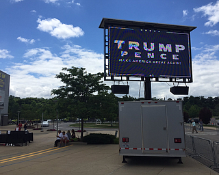 Screen outside Covelli Centre where those who don't get in can watch President Trump's speech.