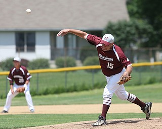 Boardman Fog  Jack Hay (15) pitches during an over 50 baseball game between the Boardman Fog and Youngstown Astros at Boardman High School baseball field, Sunday, July 16, 2017 in Boardman...(Nikos Frazier | The Vindicator)