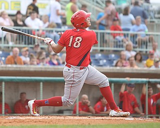 Williamsport Crosscutters right fielder Jhailyn Ortiz (18) looks up at the ball after connecting in the first inning as the Scrappers take on the Williamsport Crosscutters, Friday, July 28, 2017, at Eastwood Field in Niles. ..(Nikos Frazier | The Vindicator)..