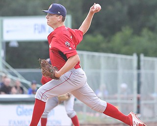 Williamsport Crosscutters pitcher Spencer Howard (29) throws in the first inning as the Scrappers take on the Williamsport Crosscutters, Friday, July 28, 2017, at Eastwood Field in Niles. ..(Nikos Frazier | The Vindicator)..