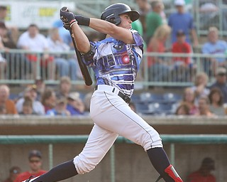 Mahoning Valley Scrappers third baseman Nolan Jones (10) swings in the first inning as the Scrappers take on the Williamsport Crosscutters, Friday, July 28, 2017, at Eastwood Field in Niles. ..(Nikos Frazier | The Vindicator)..