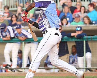 Mahoning Valley Scrappers second baseman Samad Taylor (1) connects in the second inning as the Scrappers take on the Williamsport Crosscutters, Friday, July 28, 2017, at Eastwood Field in Niles. ..(Nikos Frazier | The Vindicator)..