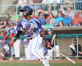 Mahoning Valley Scrappers second baseman Samad Taylor (1) swings in the second inning as the Scrappers take on the Williamsport Crosscutters, Friday, July 28, 2017, at Eastwood Field in Niles. ..(Nikos Frazier | The Vindicator)..