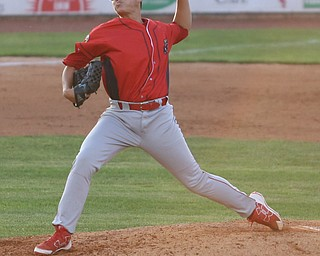 Williamsport Crosscutters pitcher Jhon Nunez (47) throws in the third inning as the Scrappers take on the Williamsport Crosscutters, Friday, July 28, 2017, at Eastwood Field in Niles. ..(Nikos Frazier | The Vindicator)..