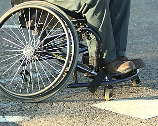 ROBERT K. YOSAY  | THE VINDICATOR.  The Adaptive Sports Program of Ohio - wheelchair softball - at the Covelli Centre parking lot