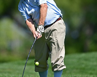 POLAND, OHIO - AUGUST 20, 2017: George Kelly tees off on the 18th hole during the final round of the Vindy Greatest Golf Tournament, Sunday afternoon at the Lake Club. DAVID DERMER | THE VINDICATOR