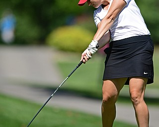 POLAND, OHIO - AUGUST 20, 2017: Angela Molaskey tees off on the 7th hole during the final round of the Vindy Greatest Golf Tournament, Sunday afternoon at the Lake Club. DAVID DERMER | THE VINDICATOR