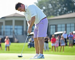 POLAND, OHIO - AUGUST 20, 2017: Jonah Karzmer putts on the 9th hole during the final round of the Vindy Greatest Golf Tournament, Sunday afternoon at the Lake Club. DAVID DERMER | THE VINDICATOR
