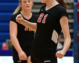 HUBBARD, OHIO - SEPTEMBER 12, 2017: Canfield's Alexis Metille celebrates after a Canfield point during their match, Tuesday night at Hubbard High School. DAVID DERMER | THE VINDICATOR