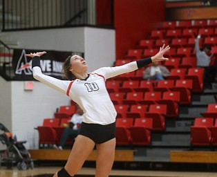 Youngstown State University Outside Hitter Erin Kalahar (10) serves the ball during the third set as Wright State University takes on Youngstown State University, Wednesday, Oct. 11, 2017, at the Beeghly Center at Youngstown State University in Youngstown. The Raiders won the set 3-1, loosing set 1 30-32 and winning set 2 25-16, set 3 25-17 and set 4 25-22...(Nikos Frazier | The Vindicator)..