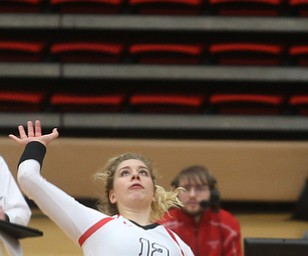 Youngstown State University Outside Hitter Margaux Thompson (12) spikes the ball during the fourth set as Wright State University takes on Youngstown State University, Wednesday, Oct. 11, 2017, at the Beeghly Center at Youngstown State University in Youngstown. The Raiders won the set 3-1, loosing set 1 30-32 and winning set 2 25-16, set 3 25-17 and set 4 25-22...(Nikos Frazier | The Vindicator)..