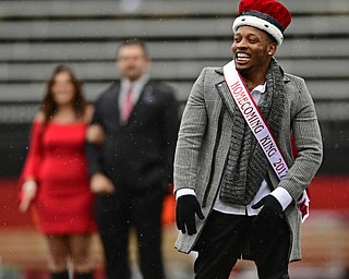 YOUNGSTOWN, OHIO - OCTOBER 28, 2017: Youngstown State student Willie Parker celebrates after hearing he had been crowned homecoming king during a halftime ceremony during a game between the Youngstown State Penguins and Illinois State Redbirds, Saturday afternoon at Stambaugh Stadium. Illinois State won 35-0. DAVID DERMER | THE VINDICATOR