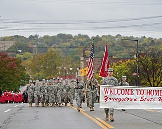 YOUNGSTOWN, OHIO - OCTOBER 28, 2017: Members of the YSU ROTC start the YSU homecoming parade on Fifth Avenue, Saturday afternoon. DAVID DERMER | THE VINDICATOR