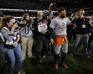 Houston Astros' Jose Altuve celebrates after Game 7 of baseball's World Series against the Los Angeles Dodgers Wednesday, Nov. 1, 2017, in Los Angeles. The Astros won 5-1 to win the series 4-3. (AP Photo/Matt Slocum)
