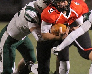 William D Lewis The Vindicator  Canfield's Vinny Fiorenz(2) bangs up the middle for yardage during 11-3-17 playoff action with Aurora at Canfield.