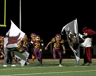 South Range takes the field before the first quarter as Crestview High School takes on South Range High School, Friday, Nov. 3, 2017, at Raider's stadium at the Rominger Sports Complex in Canfield...(Nikos Frazier | The Vindicator)..