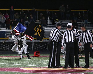 Crestview takes the field before the first quarter as Crestview High School takes on South Range High School, Friday, Nov. 3, 2017, at Raider's stadium at the Rominger Sports Complex in Canfield...(Nikos Frazier | The Vindicator)..