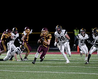 South Range's Mathias Combs(18) runs the ball on the kickoff during the first quarter as Crestview High School takes on South Range High School, Friday, Nov. 3, 2017, at Raider's stadium at the Rominger Sports Complex in Canfield...(Nikos Frazier | The Vindicator)..