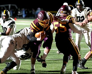 South Range quarterback Aniello Buzzacco(14) steps into the endzone for a touchdown during the second quarter as Crestview High School takes on South Range High School, Friday, Nov. 3, 2017, at Raider's stadium at the Rominger Sports Complex in Canfield...(Nikos Frazier | The Vindicator)..