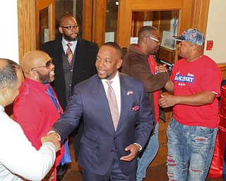 ROBERT K YOSAY  | THE VINDICATOR..Sean McKinney enters the B&O station as results came down for Tito Brown Well wishers congratulated him on his race...-30-