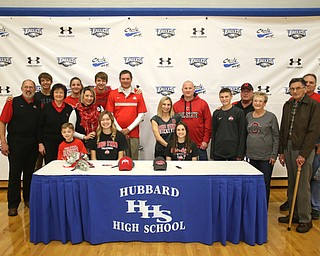 Family Photo, Wednesday, Nov. 8, 2017, in the Hubbard High School Gymnasium in Hubbard. Gagliardi and Powell are both attending Ohio State University, playing gymnastics and volleyball respectively...(Nikos Frazier | The Vindicator)