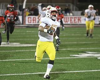 ROBERT K YOSAY  | THE VINDICATOR..CM #2 Chris Gruber rumbles  80 Yard for a TD .Cardinal Mooney vs Steubenville Big Red at Salem Stadium...-30-