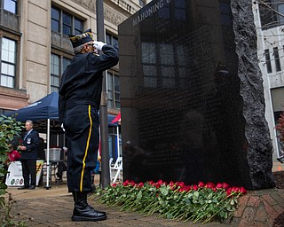 Rebecca Devereaux | The Vindicator ..Honor Guard Army veteran Tony Viano of Lake Milton salutes the Mahoning County Vietnam Memorial with the names of the 100 soldiers who were killed in action while serving in the war.