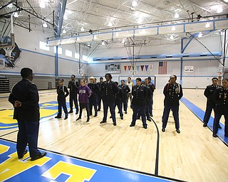Cadets stand at ease during a J.R.O.T.C drill practice, Thursday, Nov. 16, 2017, at East High School in Youngstown...(Nikos Frazier | The Vindicator)