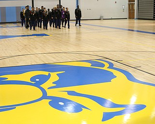 Cadets march during a J.R.O.T.C drill practice, Thursday, Nov. 16, 2017, at East High School in Youngstown...(Nikos Frazier | The Vindicator)